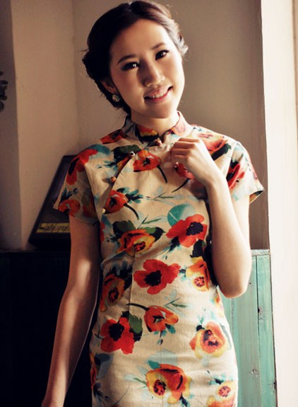 Floral Mini-length Qipao / Chinese Cheongsam Dress