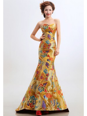 Yellow Fishtail Cheongsam / Qipao / Chinese Wedding / Evening Dress