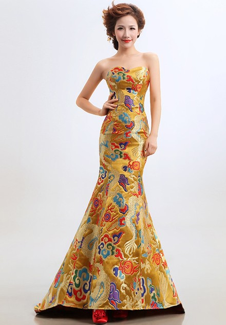 Fishtail Cheongsam Qipao Chinese Wedding Dress