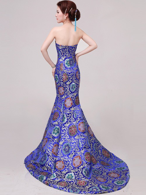 Blue Fishtail Cheongsam / Qipao / Chinese Wedding / Evening Dress