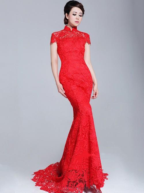 Lace Fishtail Cheongsam Qipao Chinese Wedding Dress