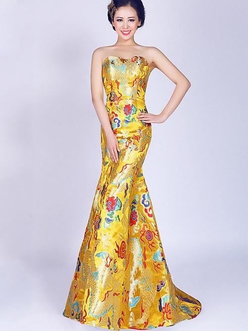 Yellow Fishtail Sweetheart Cheongsam Qipao Chinese