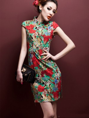 Green Floral Stretchy Cheongsam / Qipao / Chinese Dress