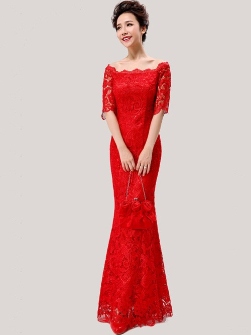Red Lace Off Shoulder Floor Length Cheongsam Qipao