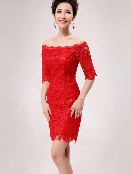 Red Lace Off Shoulder Short Cheongsam / Qipao / Chinese Wedding Dress.  Loading Zoom