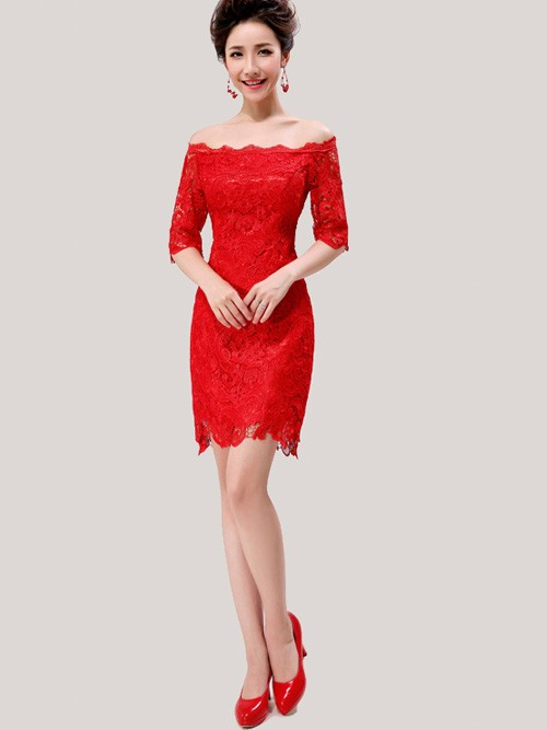 Red Lace Off-shoulder Short Cheongsam / Qipao / Chinese Wedding Dress