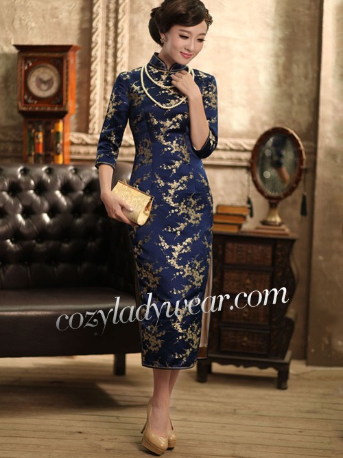 861a2ef7639ba Blue Mid 3/4 Sleeves Floral Silk Qipao / Cheongsam / Chinese Dress ...