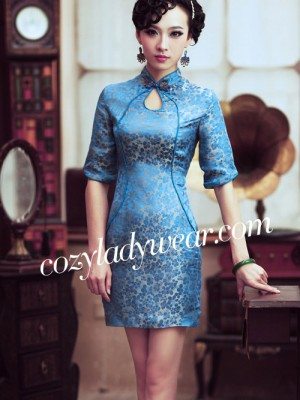 Blue Floral Short Silk Qipao / Cheongsam / Chinese Evening Dress