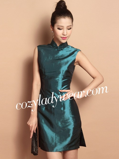 9bdab281280ac Malachite Green Custom Tailored Short Silk Qipao   Cheongsam Dress. Loading  zoom