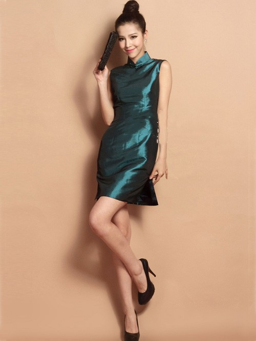 Malachite Green Custom Tailored Short Silk Qipao / Cheongsam Dress