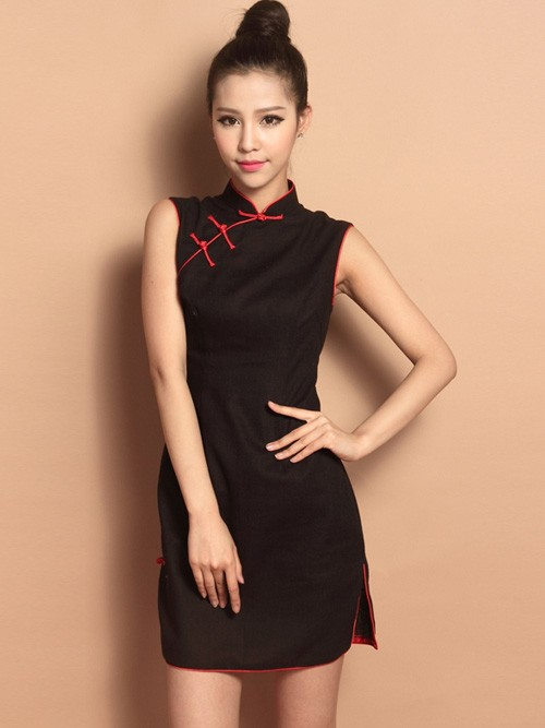 eb343a8c4f2ac Black Sleeveless Short Cotton Qipao   Cheongsam Dress