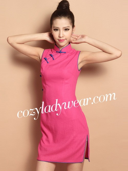 c71be60d5cd52 Pink Sleeveless Custom Tailored Short Qipao   Cheongsam Dress. Loading zoom