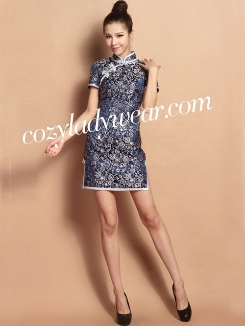 Blue Custom Tailored Short Floral Silk Qipao / Cheongsam Dress
