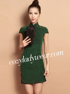 Green Custom Tailored Short Silk Qipao / Cheongsam Dress