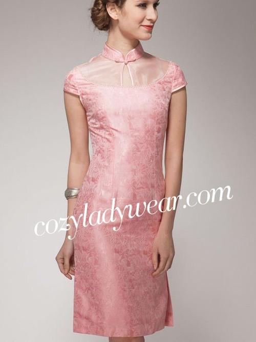 Pink Short Silk Qipao / Cheongsam Dress - cozyladywear