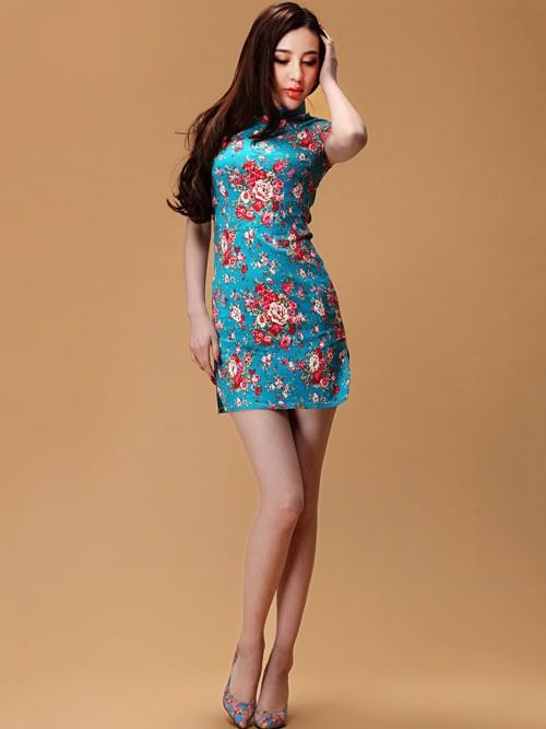 Yellow Short Floral Linen Qipao / Cheongsam Dress