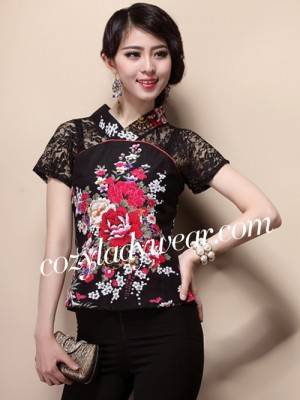 Black Lace Insert Floral Chinese Qipao / Cheongsam Shirt