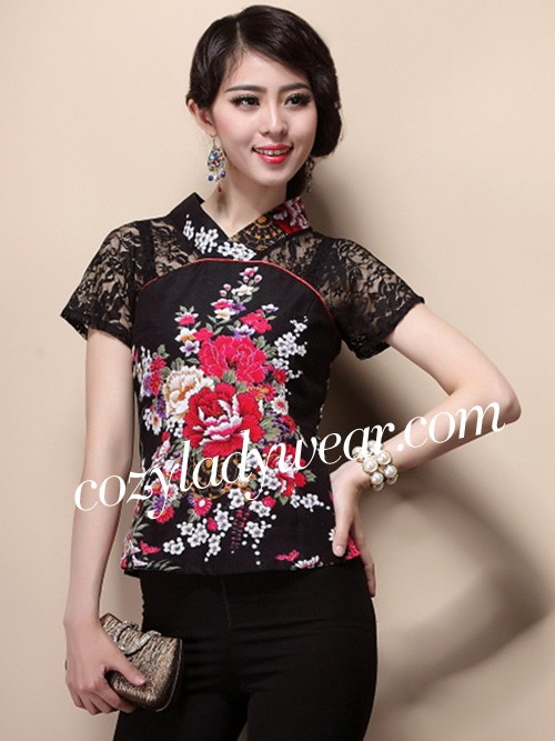 18d7ad45478 Black Lace Insert Floral Chinese Qipao   Cheongsam Shirt