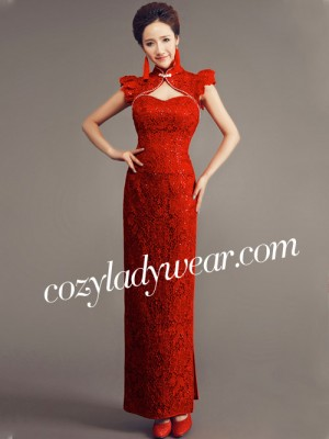 Red Ankle-length Lace Cheongsam / Qipao Wedding Dress with Key Hole