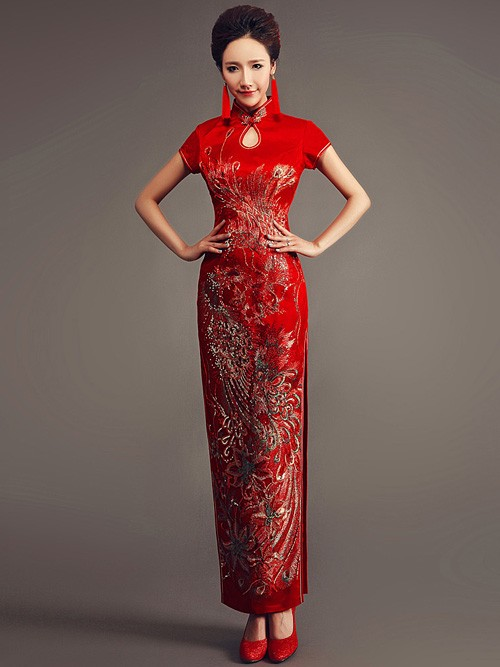 Red Ankle-length Cheongsam / Qipao Wedding Dress with Phoenix Pattern