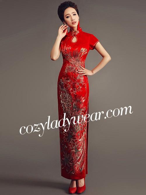 3dbf41391c2 Red Ankle-length Cheongsam   Qipao Wedding Dress with Phoenix Pattern.  Loading zoom