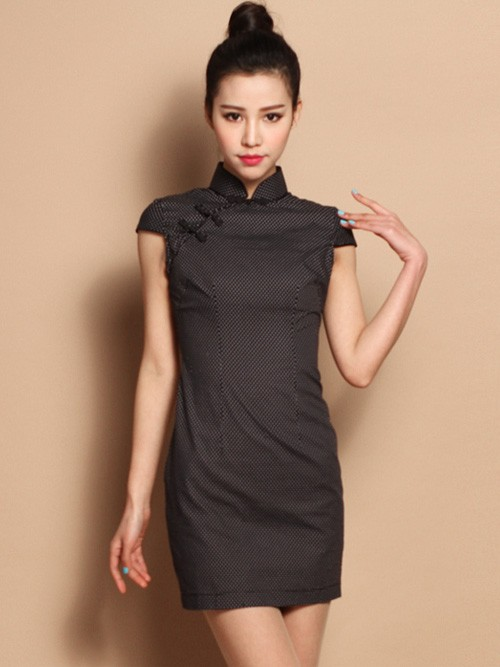 Custom Tailored Dots Cotton Qipao / Cheongsam Dress