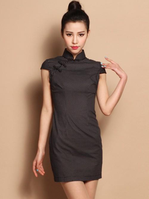Custom Tailored Dots Cotton Qipao / Cheongsam Dress