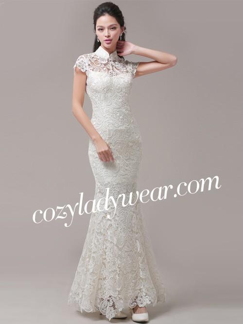 white fishtail qipao cheongsam wedding dress cozyladywear
