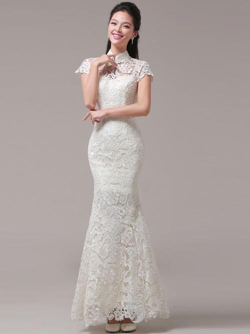 White Fishtail Qipao / Cheongsam Wedding Dress