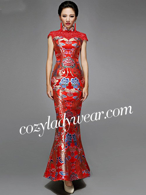 Red Floral Fishtail Cheongsam / Qipao Dress - cozyladywear