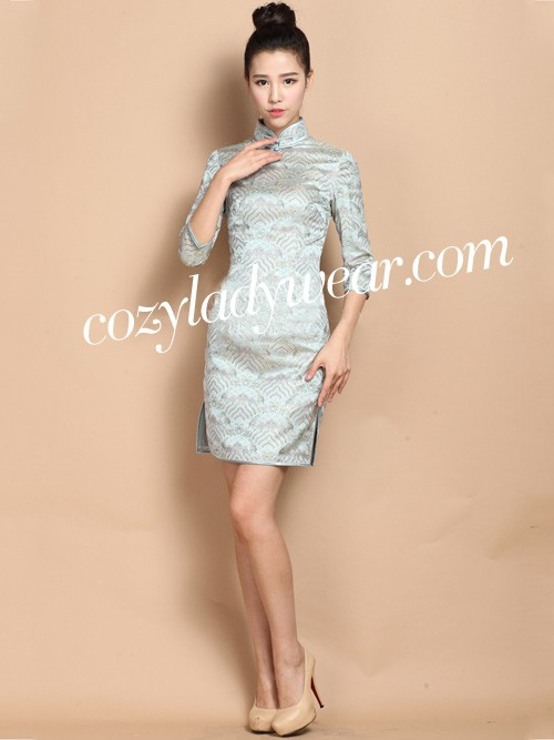 Blue Custom Tailored Floral Silk Qipao / Cheongsam Dress
