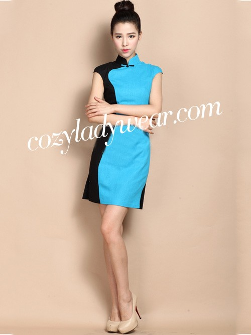 Custom Tailored Contrast Short Qipao / Cheongsam Dress