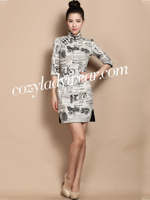 Custom Tailored Qipao / Cheongsam Dress with Chic Newspaper Print