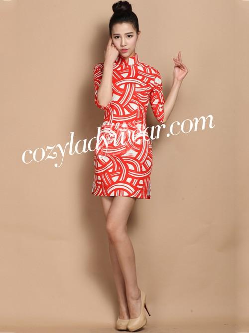Red Contrast Custom Tailored Linen Qipao / Cheongsam Dress