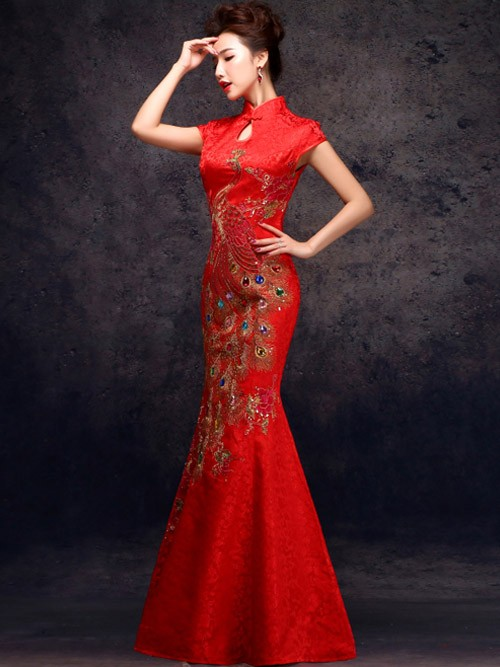 Red Ankle-length Phoenix Cheongsam /Qipao / Chinese Wedding Dress