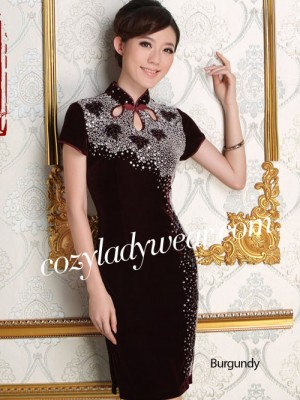 Short Stretchy Velour Qipao / Cheongsam Dress with Beads