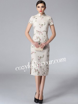 Tea-length Floral Linen Qipao / Cheongsam Dress