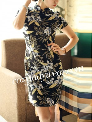 Black Short Floral Linen Qipao / Cheongsam Dress