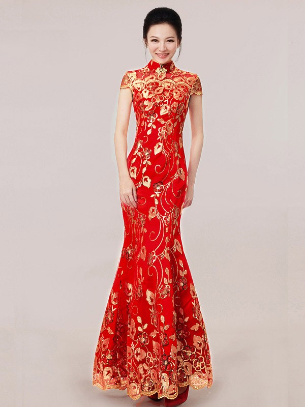 Red Ankle Length Sequined Fishtail Cheongsam Qipao