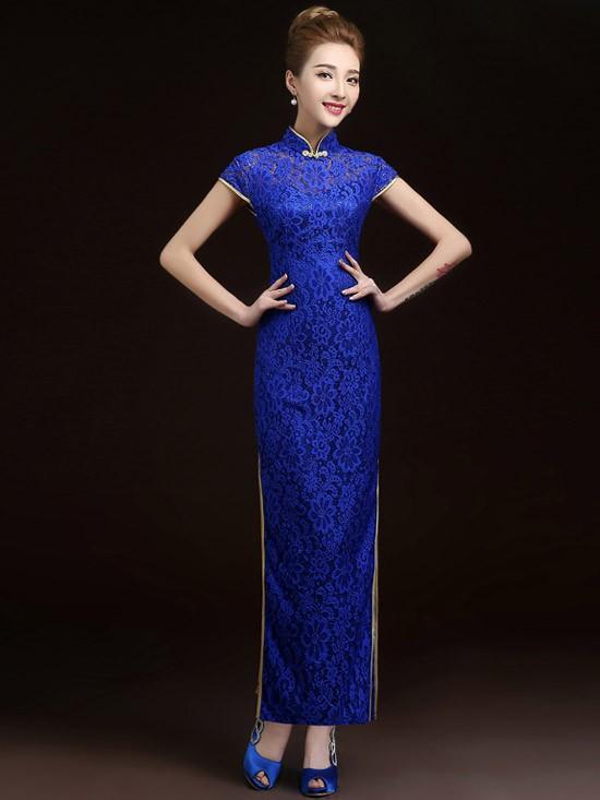 Blue Lace Cheongsam / Qipao Evening Dress with High Split