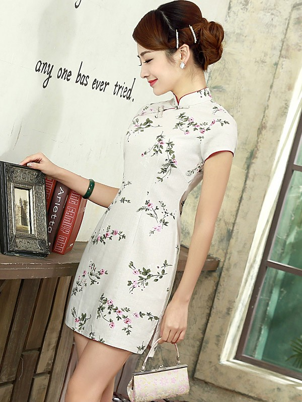 Beige Short Floral Linen Qipao / Cheongsam Dress