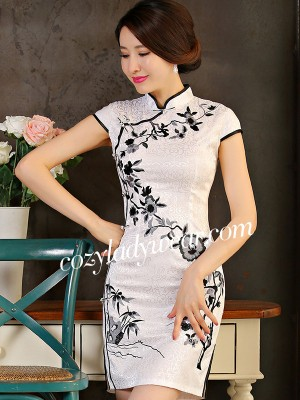 Floral Embroidery Cotton Qipao / Cheongsam Dress