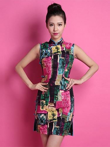 Contrast Color Custom Tailored Linen Qipao / Cheongsam Dress
