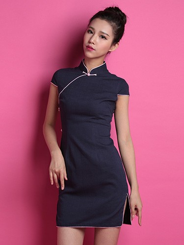 Navy Custom Tailored Linen Qipao / Cheongsam Dress