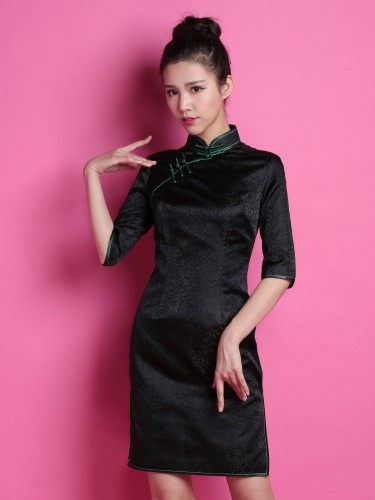 Black Custom Tailored Silk Qipao / Cheongsam Dress