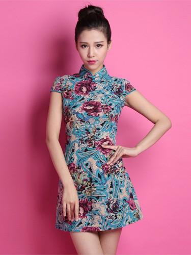 Blue Floral Custom Tailored Linen Qipao / Cheongsam Dress