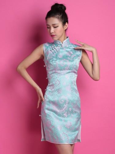Blue Floral Custom Tailored Silk Qipao / Cheongsam Dress
