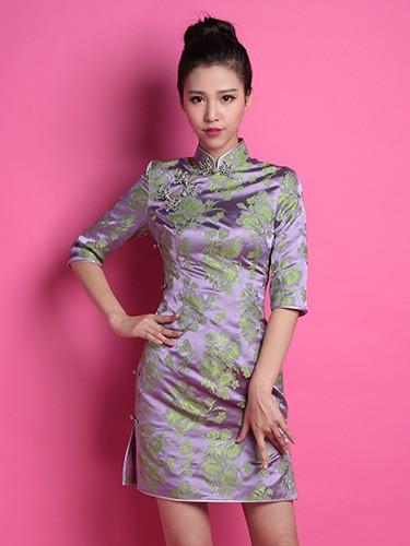 Purple Floral Custom Tailored Silk Qipao / Cheongsam Dress