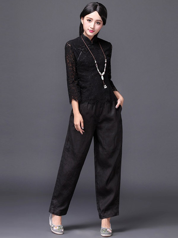 Lace Qipao / Cheongsam Shirt with Long Sleeves