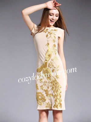 Boat Neck Qipao / Cheongsam Dress with Phoenix Embroidery